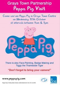 Popular Cbeebies character Peppa Pig to visit Grays Town Centre this half-term