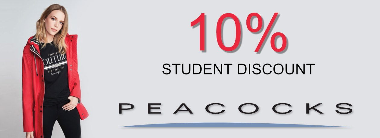 Peacocks 10% off